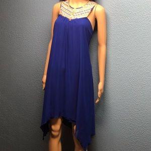 Royal blue embellished knee-length dress Sz XL